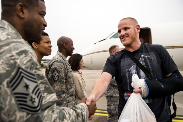 U S Air Force Airman 1st Class Spencer Stone Meets Chief Master Sgt Phillip Easton