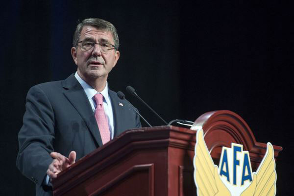 Caption: Defense Secretary Ash Carter delivers remarks at the Air Force Association's Air and Space Conference in National Harbor, Md., Sept. 16, 2015. (U.S. Air Force photo by Senior Master Sgt. Adrian Cadiz)