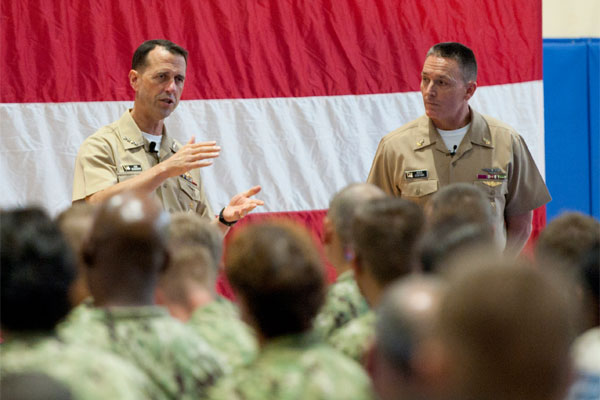 Chief of Naval Operations Adm. John Richardson and Master Chief Petty Officer of the Navy Mike Stevens answer Sailors' questions at Naval Support Activity Bahrain. (U.S. Navy photo by Mass Communication Specialist 1st Class Martin L. Carey)