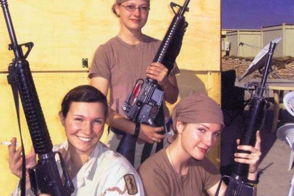 From left to right Jenny Pacanowski, Brooke Melton, and Annetta Carman in Tikrit, Iraq (2004). (Courtesy of Jenny Pacanowski)