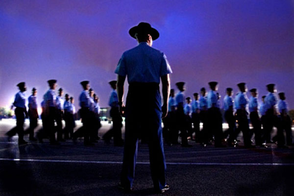 A group of basic trainees perform formation and parade drills in preparation of their graduation on Lackland Air Force Base, Texas. Cecilio Ricardo/U.S. Air Force