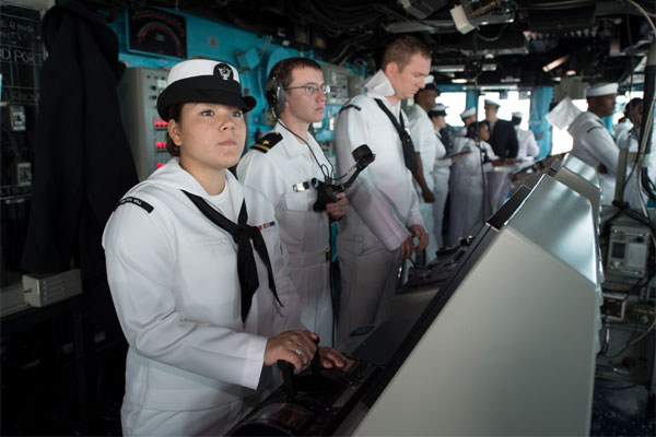 Sailors stand watch on the bridge of the amphibious dock landing ship USS Oak Hill (LSD 51) as the ship departs Joint Expeditionary Base Little Creek-Fort Story. (U.S. Navy photo: Justin Yarborough)