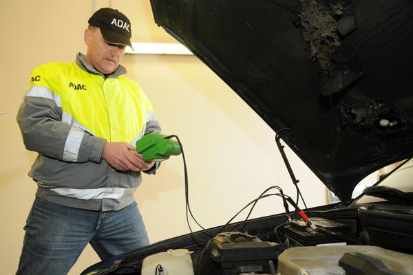 Car battery voltage test.