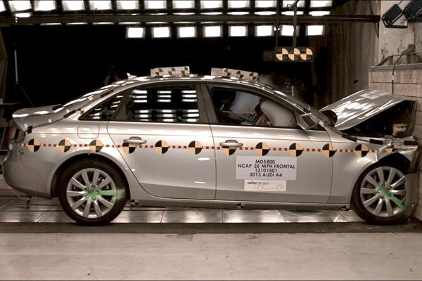 Silver car crash test.