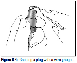 Figure 6-4: Gapping a plug with a wire gauge.