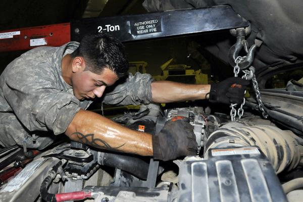 Servicemember auto engine repair.