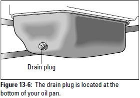 Figure 13-6: The drain plug is located at the bottom of your oil pan.