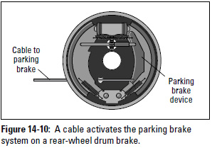 Figure 14-10: A cable activates the parking brake system on a rear-wheel drum brake.