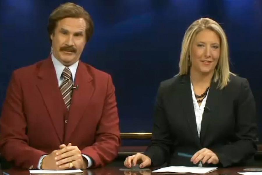 ron burgundy co anchors newscast
