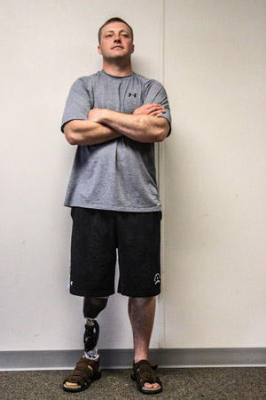 Sergeant Greg Robinson's prosthetic leg