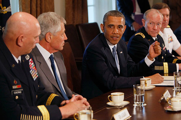 President Barack Obama, center, meets with, from left, General Ray Odierno, Secretary of Defense Chuck Hagel, Gen. Martin Dempsey, Chairman of the Joint Chiefs of Staff, and Vice Chief of Naval Operations Admiral Mark Ferguson, to discuss sexual assaults.