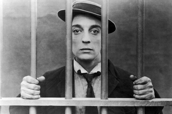 Buster Keaton behind bars.