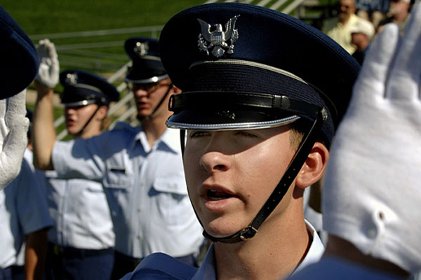 U.S. Air Force Academy Cadet 4th Class Andrew Taylor takes the Oath of Honor during the Acceptance Parade at the Academy in Colorado Springs, Colo., in 2011. MIKE KAPLAN/U.S. AIR FORCE
