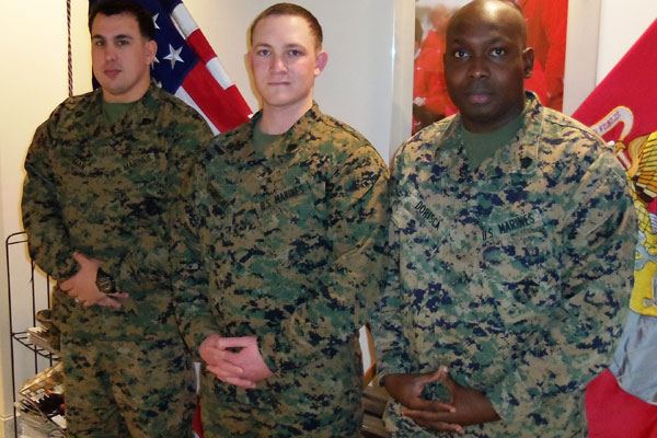 Marine Sgts. Guensly Dorisca and Michael Canright and Staff Sgt. Ryan Harshman are members of the Wounded Warrior Battalion at Camp Lejeune, N.C., after suffering brain trauma in combat.