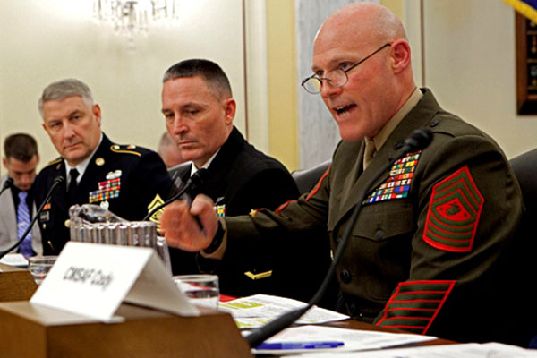 Sgt. Maj. of the Marine Corps Micheal Barrett testifies before Congress about service members' pay.