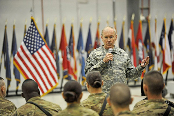 Chairman of the Joint Chiefs Gen. Martin Dempsey addresses troops in Afghanistan.
