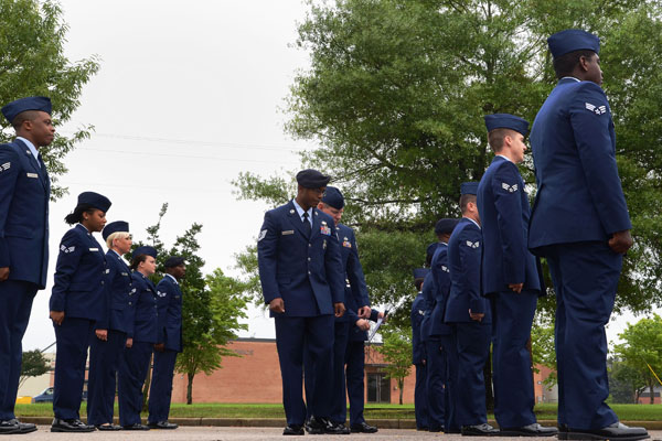 Airmen at attention.