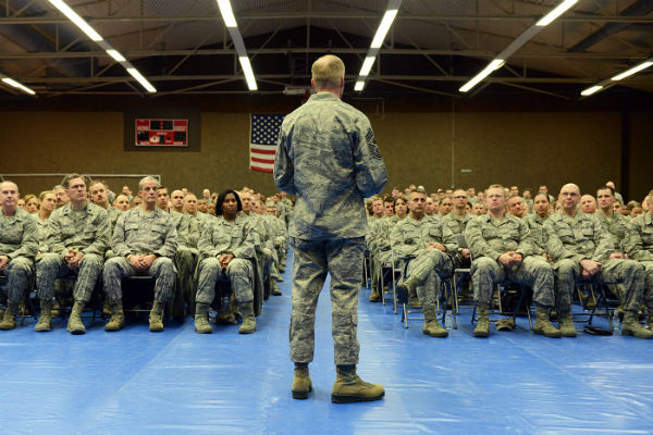 Chief Master Sgt. of the Air Force James Cody addresses a crowd of Spangdahlem Air Base