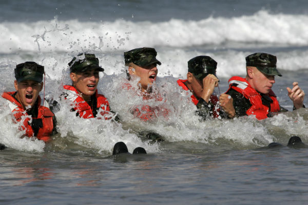 U.S. Navy Sailors in Basic Underwater Demolition/SEAL Class