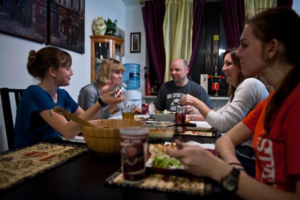 Military family dinner
