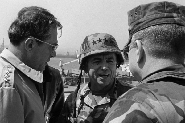 Then-US Army Gen. William J. Livsey, commander in chief, United Nations Command, talks with other military officers during the joint US-South Korean military exercise. (National Archives Photo)