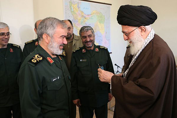 Ayatollah Ali Khamenei awarded the Order of Fat'h medal to Admiral Ali Fadavi, the head of the navy of the Revolutionary Guards, and four commanders who seized two U.S. Navy vessels and 10 U.S. Sailors. Photo from Ayatollah Ali Khamenei Twitter account