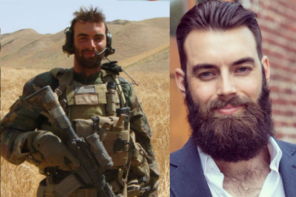 Before-and after photos of Nicholas Karnaze, a Marine Corps veteran and the founder and CEO of beard care company stubble & 'stache, show off his killer haircut and civilian beard.