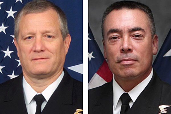 Rear Adm. Tim Szymanski, left, is scheduled to replace Rear Adm. Brian Losey as head of the Naval Special Warfare Command this summer. Navy photos