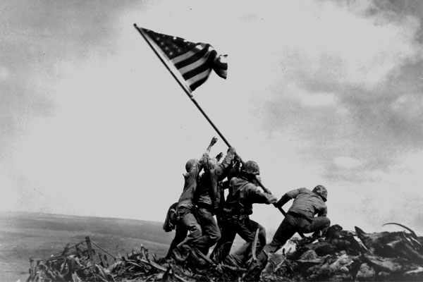 Associated Press photographer Joe Rosenthal preserved this moment on Feb. 23, 1945, when six Marines raised the U.S. Flag on Mt. Suribachi, Iwo Jima. The battle on the Japanese-held island claimed the lives of nearly 7,000 Marines.