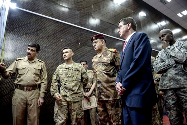 Defense Secretary Ash Carter is briefed by Iraqi military leaders in Baghdad on July 23. He returned to Iraq today on an unannounced visit. (DoD photo/Clydell Kinchen)