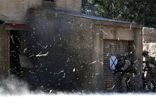 A Special Forces team trains in urban warfare at the John F. Kennedy Special Warfare Center and School at Fort Bragg, N.C. (US Army photo/Jacob Braman)