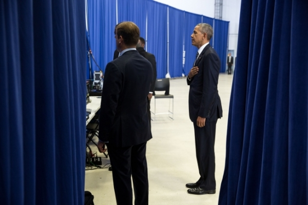 President Barack Obama listens to the National Anthem backstage before making remarks at MacDill Air Force Base in Tampa, Fla., Dec. 6, 2016. (Official White House Photo by Pete Souza)