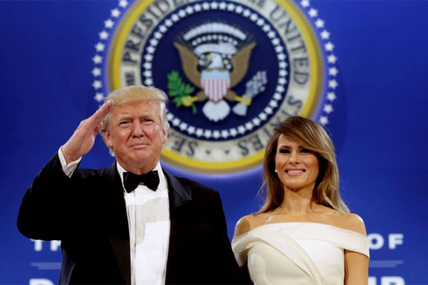 45th President of the United States Donald J. Trump and First Lady Melania Trump. They attended three inaugural balls on Jan. 20, including the Salute to the Armed Services Ball. (Photo courtesy Voice of America)
