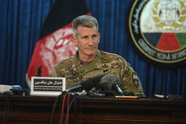 "Gen. John Nicholson, commander of U.S. and NATO forces in Afghanistan, speaks at a news conference in Kabul on April 14. Nicholson said the GBU-43B bomb was the ""right weapon"" to use against Islamic State militants. (Phillip Wellman/Stars and Stripes)"
