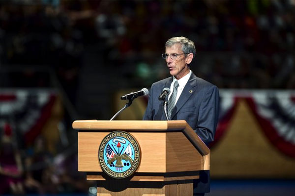 Acting Secretary of the Army Robert Speer speaks on June 14 during a celebration of the Army's birthday at Joint Base Myer-Henderson Hall, Va. Speer is a former assistant secretary of the Army for financial management. (US Army photo/Trevor Wiegel)