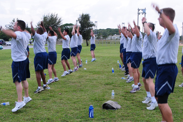 Air Force exercise, jumping jacks.