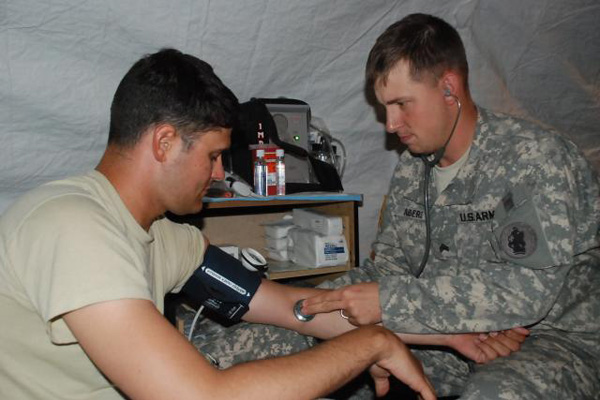 Army sick call tent.