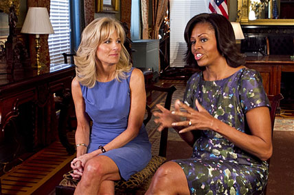 First Lady Michelle Obama and Dr. Jill Biden, wife of Vice President Joe Biden, discuss the accomplishments of the Joining Forces campaign as its one-year anniversary approaches.