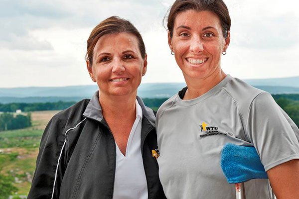 Paulette Mason and her daughter, Army Reserve Staff Sgt. Stefanie Mason, on a Yellow Ribbon Fund outing to Gettysburg during Stefanie's years of treatment at Walter Reed. Photo by Charles Lee