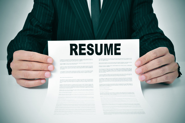 Holding a resume