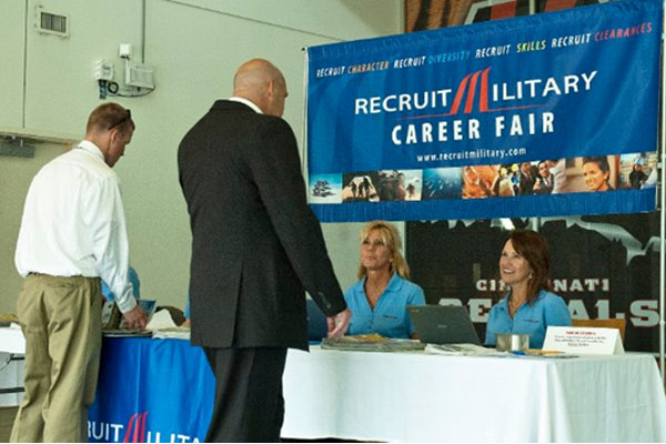 veteran at RecruitMilitary career fair