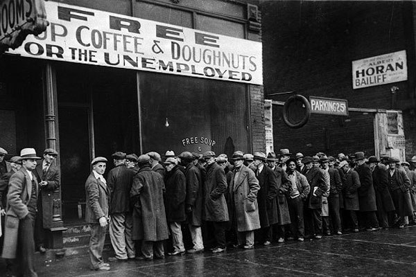 unemployment line for coffee and donuts