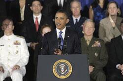Obama addressing military