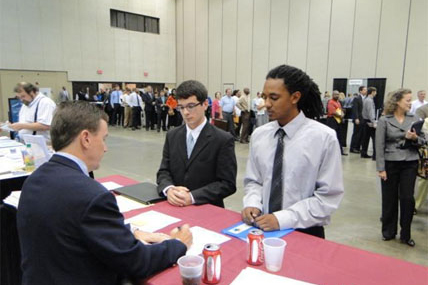 job interview at job fair