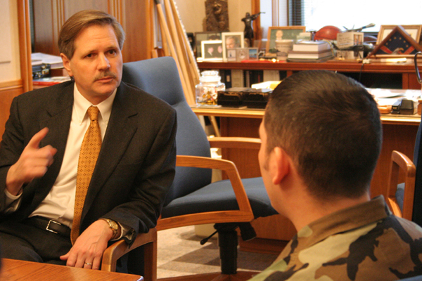 Airman interviews governor Hoeven.