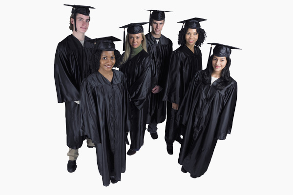 A group of undergraduates in black robes.
