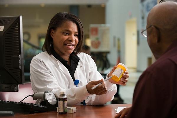 Filling a pharmacy prescription.