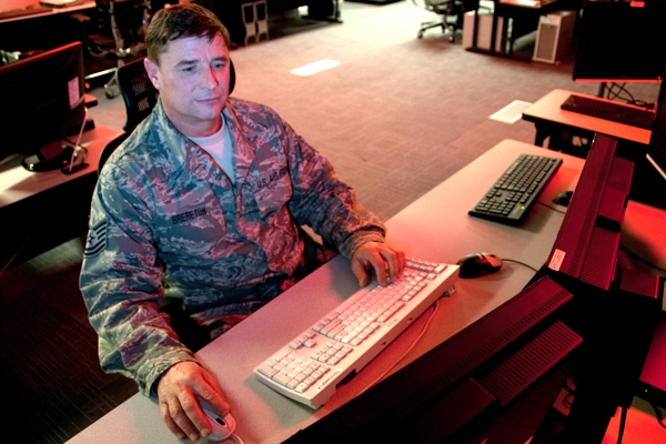 Servicemember using computer.