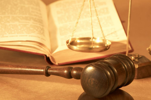 Gavel with a scale and an open book.