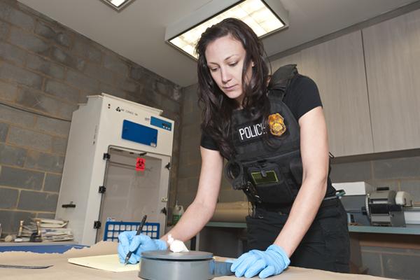 Agent on a crime scene investigation.